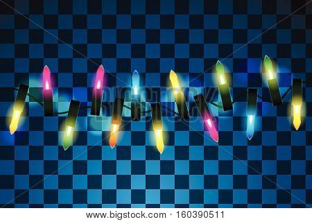 Vector illustration of christmas decoration lights effects. Isolated design elements. Glowing lights for Xmas Holiday greeting card design. Christmas decoration realistic luminous garland