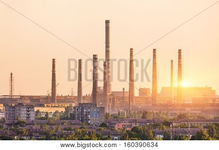 Metallurgy Plant At Sunset. Steel Mill. Heavy Industry Factory