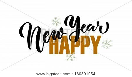 Lettering 'happy New Year' For New Year Greeting Card, Invitation Template