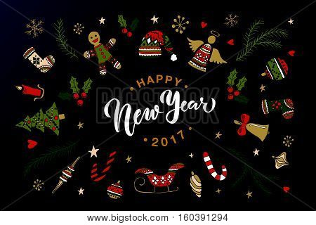 Hand sketched Happy New Year logotype badge/icon typography with new year attributes. Lettering 'Happy New Year' for Christmas/New Year greeting card invitation template. New 2017 Year Christmas banner poster
