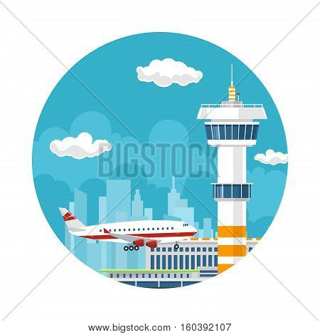 Icon Arrivals at Airport ,Control Tower and Airplane on the Background of the City, Travel and Tourism Concept ,Air Travel and Transportation ,Vector Illustration