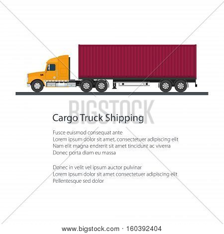 Cargo Delivery Truck with Cargo Container and Text бShipping and Freight of Goods бPoster Brochure Flyer Designб Vector Illustration