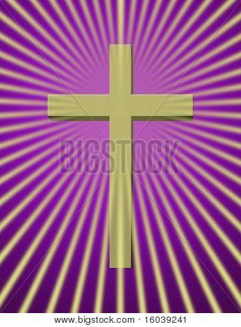 Cross with beams on purple