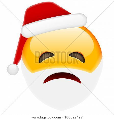 Unhappy Santa Smile Emoticon For Christmas And New Year