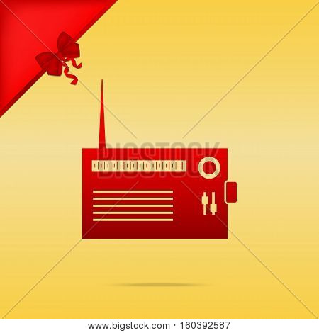Radio Sign Illustration. Cristmas Design Red Icon On Gold Backgr