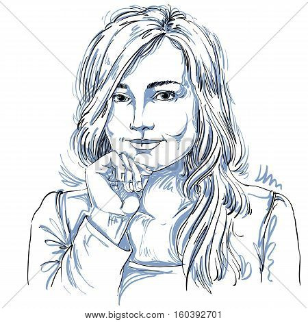 Artistic Hand-drawn Vector Image, Black And White Portrait Of Flirting Girl With Delicate Features.