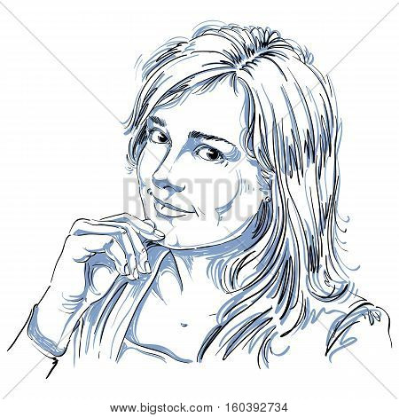 Hand-drawn Vector Illustration Of Beautiful Romantic Loving Woman. Monochrome Image, Expressions On