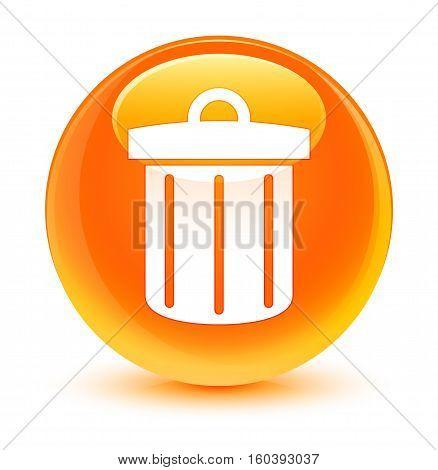 Recycle Bin Icon Glassy Orange Round Button