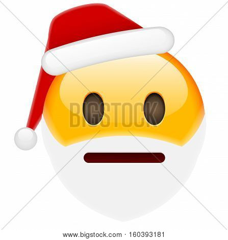 Worried Smile Emoticon for Christmas and New Year. Isolated vector illustration on white background
