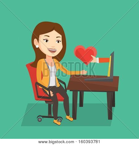 Woman using laptop and dating online. Caucasian woman looking for online date on the internet. Woman dating online and getting virtual love message. Vector flat design illustration. Square layout.