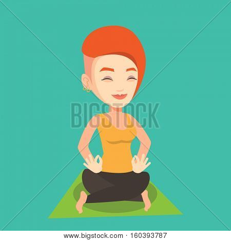Young sportswoman meditating in yoga lotus pose. Caucasian sportswoman relaxing in the yoga lotus position. Sporty woman doing yoga on the mat. Vector flat design illustration. Square layout.