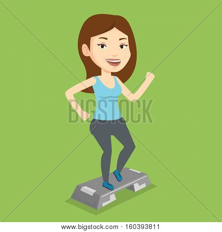 Young man doing step exercises. Caucasian man training with stepper in the gym. Man working out with stepper in the gym. Sportsman standing on stepper. Vector flat design illustration. Square layout.