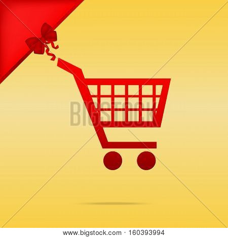 Shopping Cart Sign. Cristmas Design Red Icon On Gold Background.