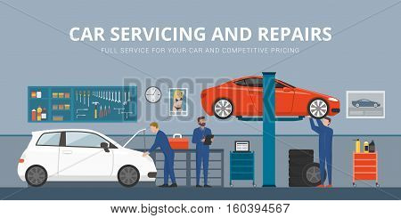 Auto repair shop interior with mechanics working and fixing cars professional service concept