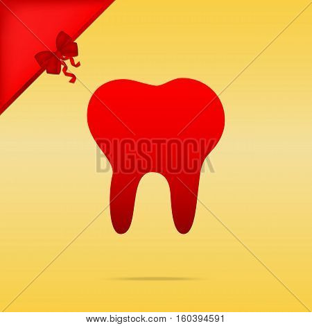 Tooth Sign Illustration. Cristmas Design Red Icon On Gold Backgr