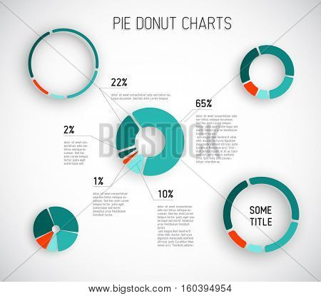 Colorful Vector pie chart templates for your reports, infographics, posters and websites - red and teal version