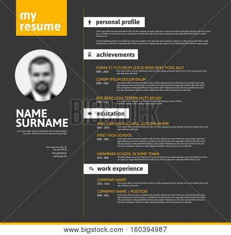 Vector minimalist cv / resume template with nice typogrgaphy design - yellow and black version