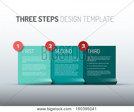 One two three - vector paper progress steps for your tutorial or three options of your product / service