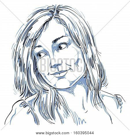 Hand-drawn Portrait Of White-skin Romantic Woman, Face Emotions Theme Illustration. Beautiful Dreamy