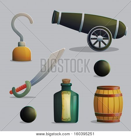 Collection of pirate items for marine journey and treasure hunting. Accessories for treasure hunting trip, hook, sber, gunpowder barrel, cannon. Game and app ui icons.