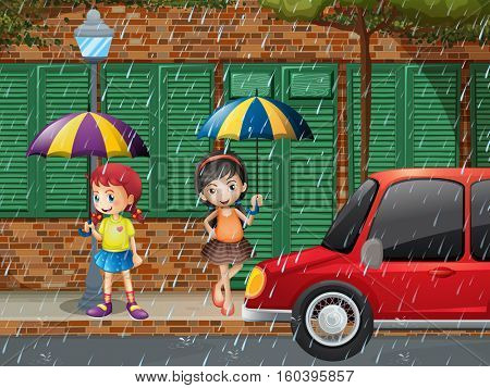 Two girls standing on pavement in the rain illustration