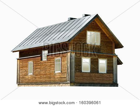 two-storey wooden house isolated on the white background