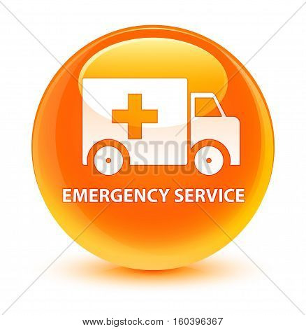 Emergency Service Glassy Orange Round Button
