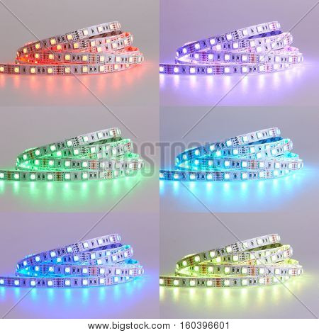 Set of Diode strip. Led lights tape close-up