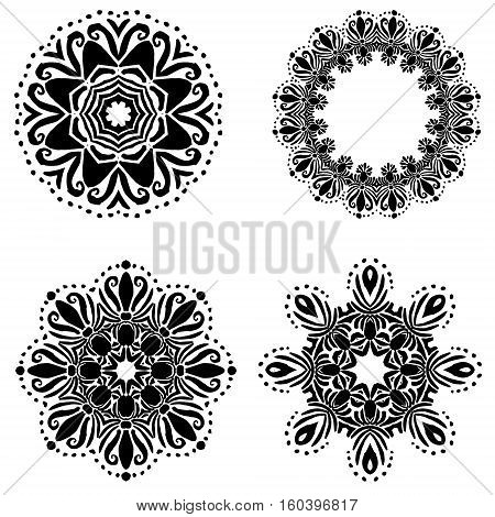Mandala set four  black mandalas for Coloring