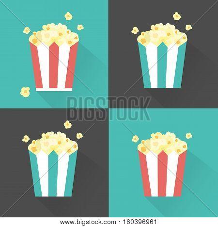 Vector Flat Popcorn Striped Buckets Set Illustration
