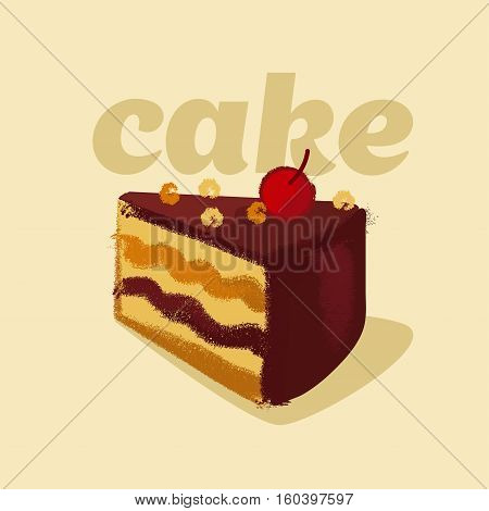 vector illustration of kiddy style sweets cake