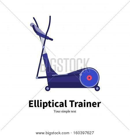 Vector illustration cartoon elliptical trainer. Isolated on white background. Flat style. Side view, profile. Icon elliptical cross simulator. Training apparatus for legs.