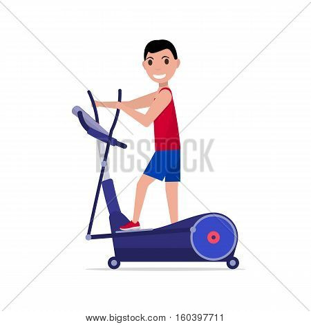 Vector illustration cartoon sports boy trains on elliptical cross trainer. Isolated white background. Flat style. Side view, profile. Man on elliptical cross simulator.