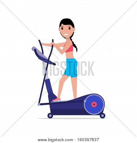 Vector illustration cartoon beautiful girl trains on elliptical cross trainer. Isolated white background. Flat style. Side view, profile. Woman on elliptical cross simulator.