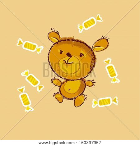 vector illustration of kiddy teddy bear with sweets
