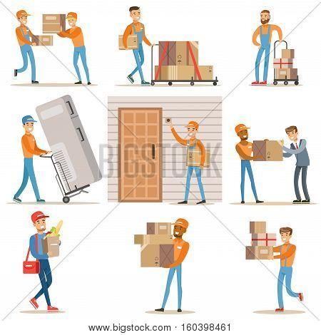 Different Delivery Service Workers And Clients, Smiling Couriers Delivering Food And Equipment From Shop And Mailmen Bringing Packages Set Of Illustrations. Vector Cartoon Characters In Uniform Carrying Carton Boxes With A Smile.