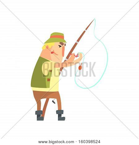 Amateur Fisherman In Khaki Clothes Placing A Worm Bait On Hook Cartoon Vector Character And His Hobby Illustration. Man On His Leisure Outdoors Fishing Trip Wearing Typical Outfit Vector Funny Drawing.