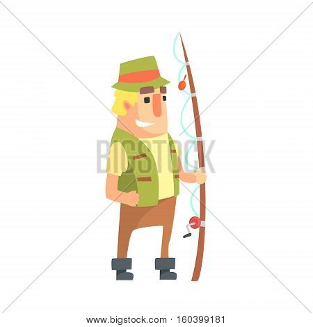 Happy Amateur Fisherman In Khaki Clothes Standing With Fishing Rod Cartoon Vector Character And His Hobby Illustration. Man On His Leisure Outdoors Fishing Trip Wearing Typical Outfit Vector Funny Drawing.
