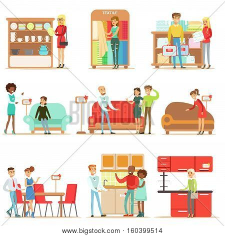 Smiling Shoppers In Furniture Store, Shopping For House Decor Elements With Help Od Professional Department Store Sellers. Set Of Scenes With People Selling Home Design Items To Clients OF The Mall Vector Illustrations.
