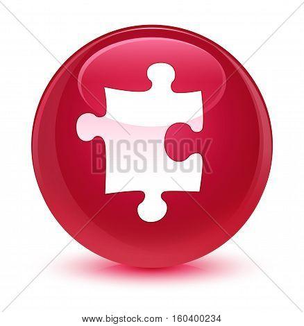 Puzzle Icon Glassy Pink Round Button
