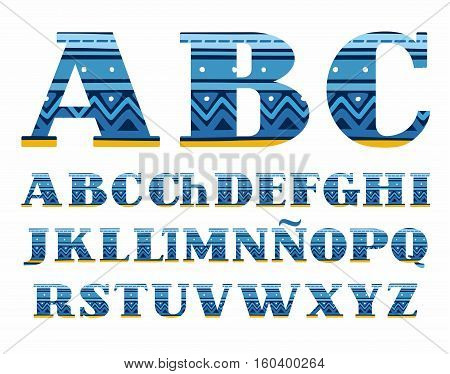 Spanish alphabet, folk pattern, blue, vector font, capital letters. The letters of the Spanish alphabet with serifs. Blue zigzags and stripes on a dark blue background. Ethnic pattern.