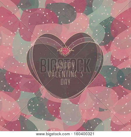 Valentine's Card With Seamless Pattern With Hearts And Snow
