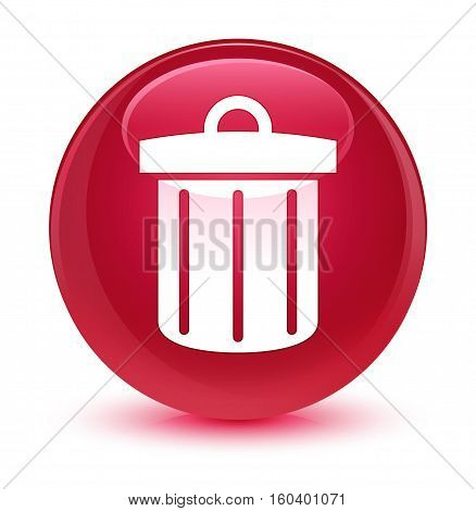 Recycle Bin Icon Glassy Pink Round Button