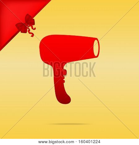 Hair Dryer Sign. Cristmas Design Red Icon On Gold Background.