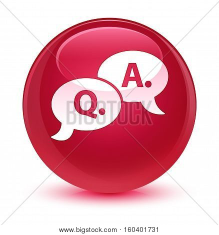 Question Answer Bubble Icon Glassy Pink Round Button