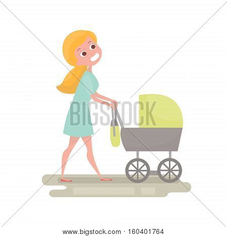 Mom pushing her baby in a stroller . Young woman with little baby on the walk. Mother character isolated. Vector Illustration Baby care concept.