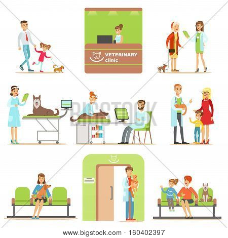 Smiling Cartoon Characters Bringing Their Pets For Vet Examination In Veterinary Clinic Collection Of Illustrations. Happy Pet Owners And Veterinary Specialists Attending Their Animals In Medical Office.