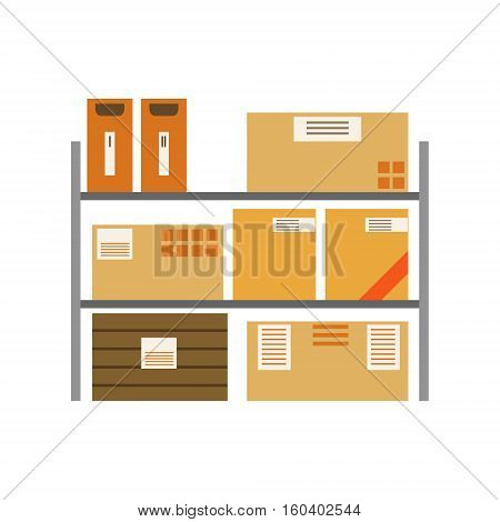 Paper Box Packages Piled In The Warehouse Metal Shelves Stored For Later Shipment And Delivery. Part Of Storehouse And Logistic Service Depository Collection Of Vector Illustrations.