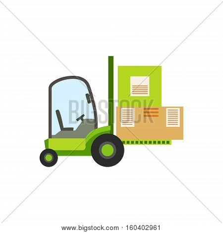 Green Forklift Warehouse Car Lifting The Paper Box Packages, Storeroom Machinery Without Driver. Part Of Storehouse And Logistic Service Depository Collection Of Vector Illustrations.