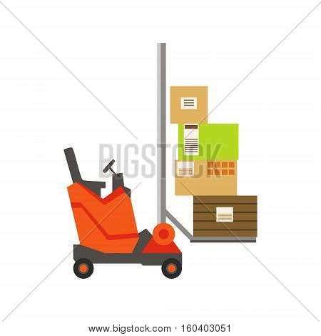Orange Forklift Warehouse Car Lifting The Paper Box Packages, Storeroom Machinery Without Driver. Part Of Storehouse And Logistic Service Depository Collection Of Vector Illustrations.